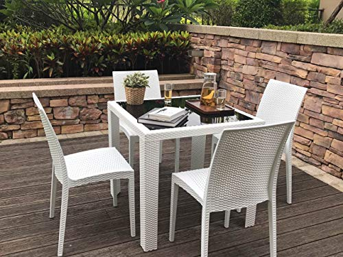 Rimdoc Outdoor Patio Dining Chairs, 6 Piece Modern Style Stackable Rattan Chairs,Vintage White Woven Seat Set of 6 for Dining Room/Cafe/Restaurant/Bistro/Bar/Camping (6 x Chairs) (Cafe Seating Outdoor)