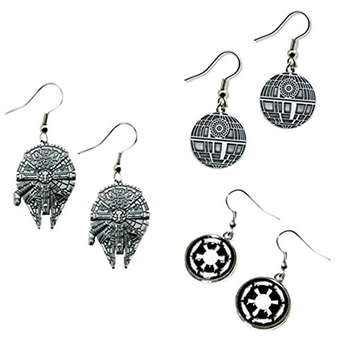 Star Wars Millennium Falcon, Etched Deathstar & Imperial lColor Logo (3-Pair Assortment) Cute Girl Dangle Earrings By - Etched Assortment