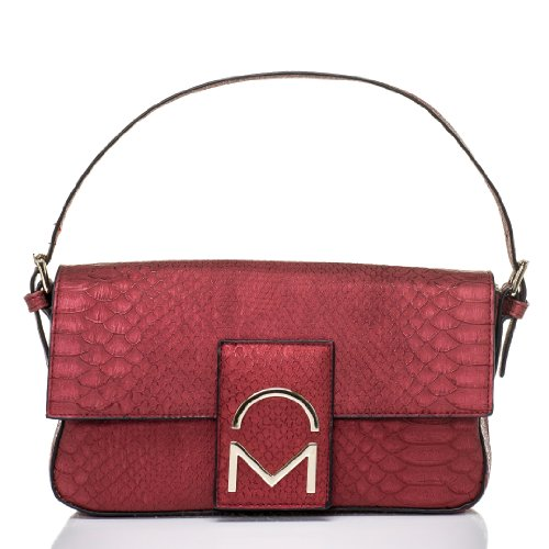 Noble Mount Bewitched Baguette Handbag - Snake Metallic Red