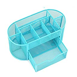 Storage Box - SODIAL(R)Multifunctional 9 Components Metal Table Storage Box Desktop Organizer with Drawers (Sky Blue)