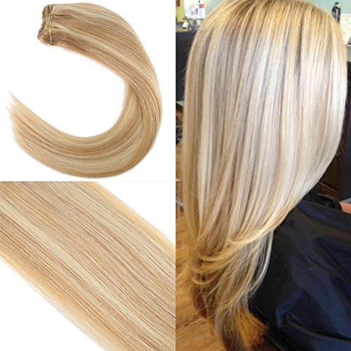 Youngsee 18inch 1 Bundle 100% Remy Straight Weave Human Hair Caramel Blonde Highlight with Blonde Human Hair Weave Brazilian Hair 100gram