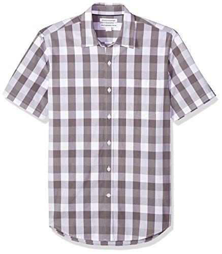 Amazon Essentials Men's Slim-Fit Short-Sleeve Casual Poplin Shirt, Grey Check, Large ()
