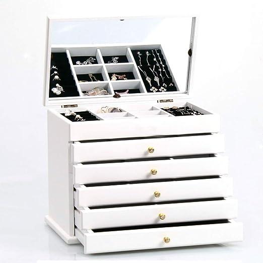 XHCP Joyero, Caja de Madera con 6 Capas y 5 cajones, para Anillos ...