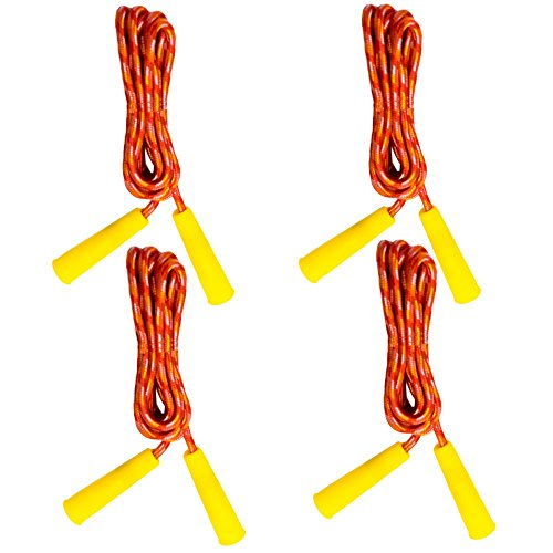 TukTek Kids First Jump Rope Set of 4 Outdoor Fun and Games Exercise Equipment 7' Orange Jump Skipping Ropes for Boys and Girls by TukTek