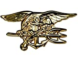Seal Team Badge Gold Tone Large Heavy Quality US Navy Hat Beret Pin