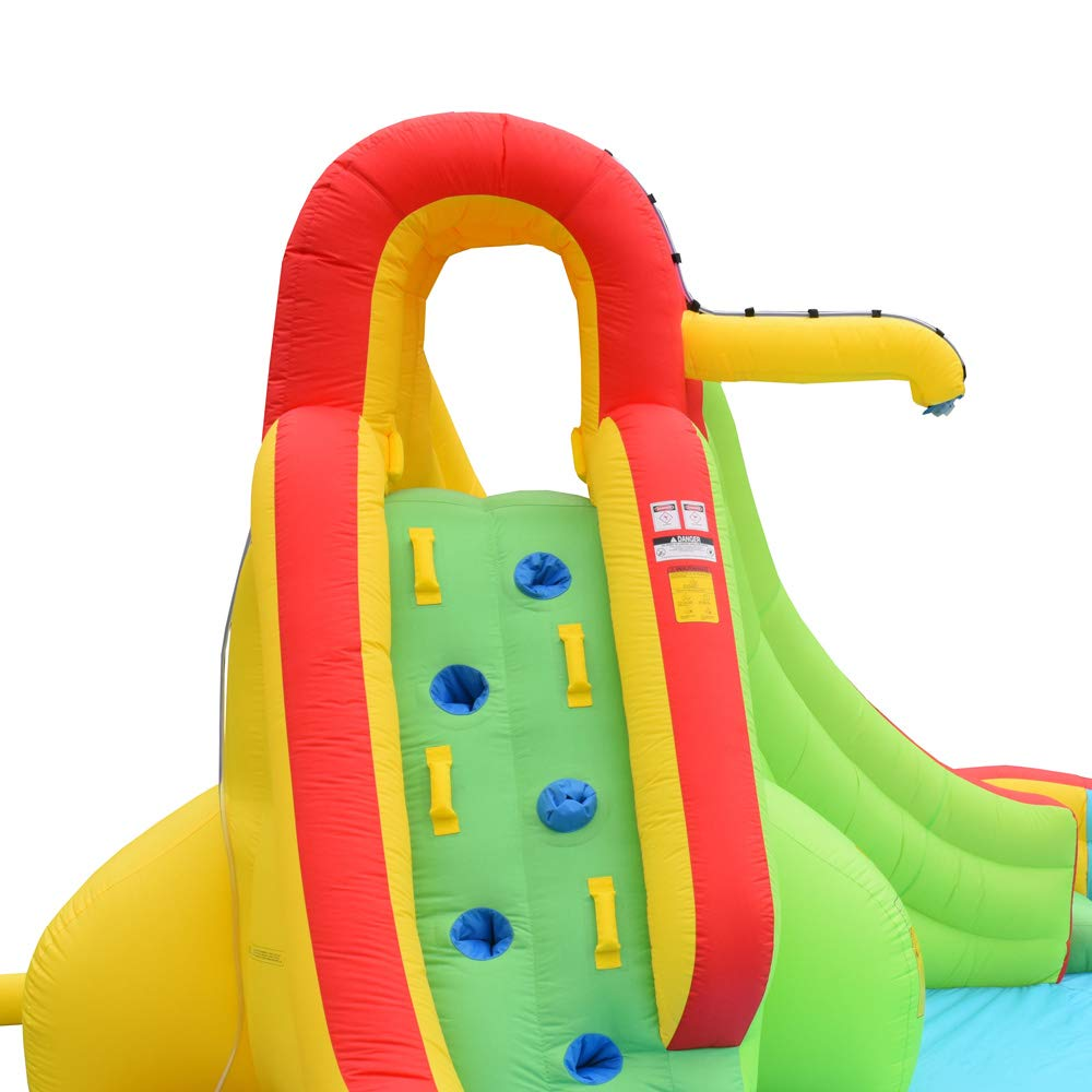 Inflatable Water Slide Well Fun Bounce House With Climbing Wall, Two Slides & Splash Pool Includes Blower Motor by WELLFUNTIME (Image #2)