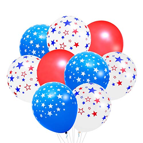 LUOEM Independence Day Party Decoration Patriotic Decorations Star Print Party Balloons 4th of July Party Supplies,Pack of 74