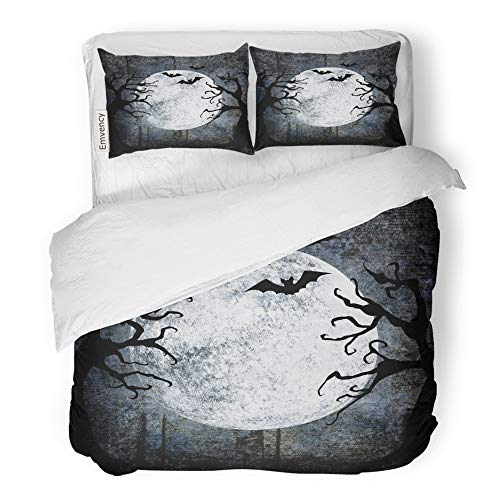 Emvency 3 Piece Duvet Cover Set Brushed Microfiber Fabric Breathable Halloween Full Moon Silhouettes of Bats Terrible Dead Trees on Dark Spooky Bedding Set with 2 Pillow Covers King Size