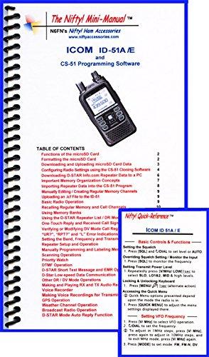 Icom Manual Radio (Icom ID-51A /E Mini-Manual & Ref Card Combo by Nifty Accessories)