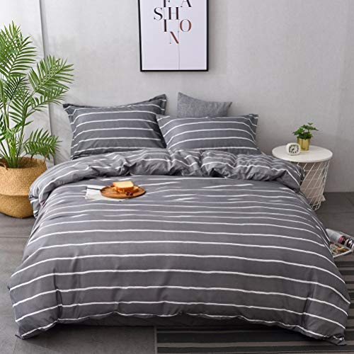 M&Meagle Lightweight Microfiber Duvet Cover Gray,Stripe Print Pattern Bedding Sets,Zipper & Tie for Women & Men