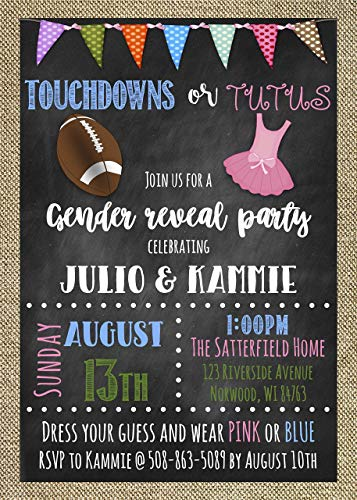 Gender Reveal Custom Invitations - Touchdowns or Tutus ()