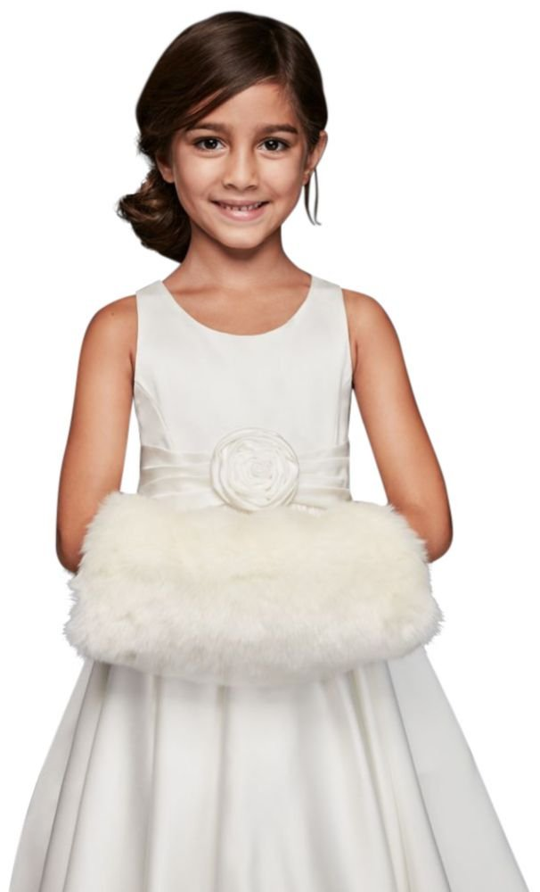 David's Bridal Flower Girl Faux Fur Muff Style CWS0002, Ivory