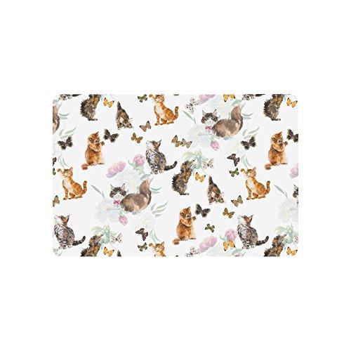 """InterestPrint Funny Cats s and Butterflies Doormat Indoor Outdoor Entrance Rug Floor Mats Shoe Scraper Door Mat Non-Slip Home Decor, Rubber Backing 23.6""""(L) x 15.7""""(W)"""
