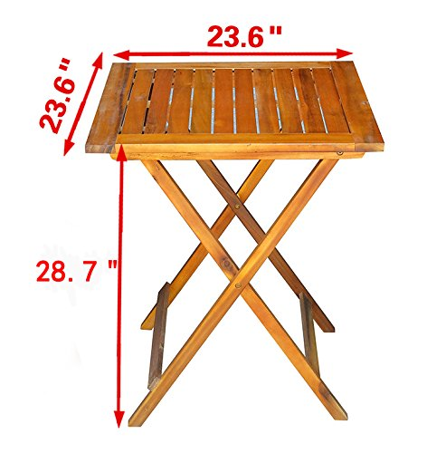 MCombo 2 Wooden Slatted Folding Chairs Outdoor Patio Acacia Dining Table Furniture Set 0021 by MCombo (Image #9)