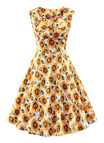VOGVOG Women's 1950s Retro Vintage Cap Sleeve Party Swing Dress, Sunflower Yellow, Large (The People Look Like Flowers At Last)