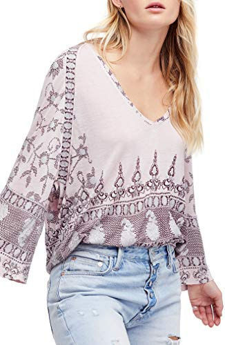 - Free People Womens Linen Blend Printed Knit Top Purple XS