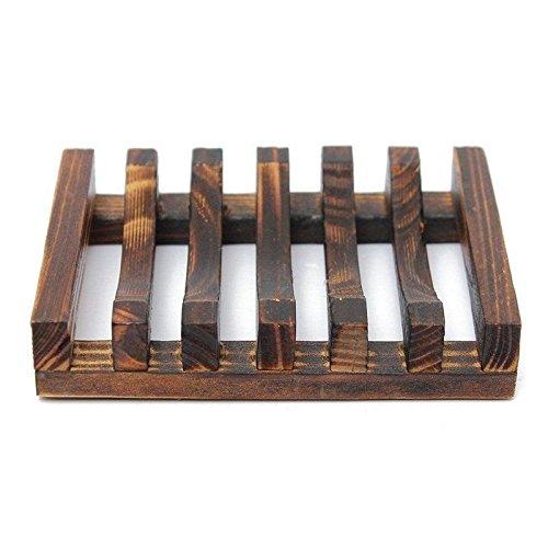Agordo Wood Kitchen Bathroom Sponge Soap Dish Plate Box Holder Container Shelf,Siz S2O6 -