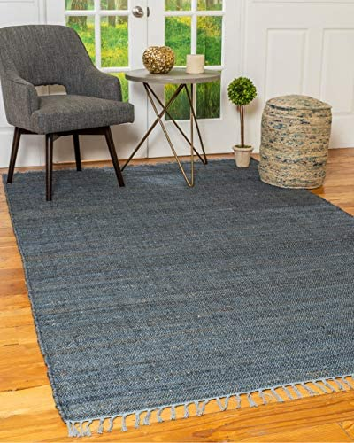 Natural Area Rugs 100 Natural Fiber Handmade Venice Jute Rectangular Rug 5 x 8 Blue