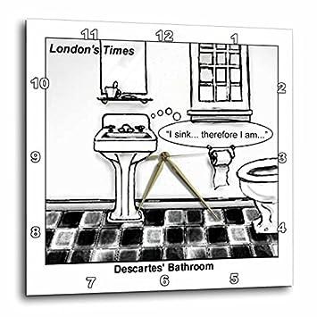 3dRose Londons Times Funny Society Cartoons – Descartes Bathroom – 10×10 Wall Clock DPP_1662_1