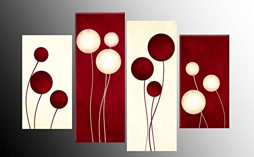 Dark Red And Cream Canvas Picture Abstract Circles 4 Pieces Multi Panel  Split Canvas Completely Ready