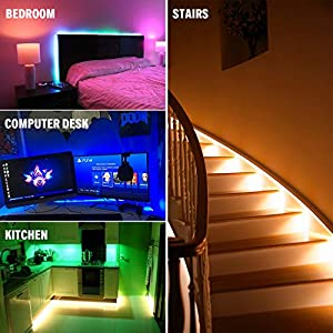 Pangton Villa LED Strips Lights 10m, RGB 5050 Colour Changing Kit with 24key Remote Control and Power Supply,for Home Kitchen Christmas Indoor Decoration