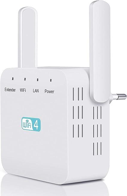 Kosiy Repetidor de Red WiFi Amplificador, Amplificador Señal WiFi Repetidor WiFi 300Mbps, Amplificador WiFi 2.4GHz Extensor de WiFi con 2 Antenas ...