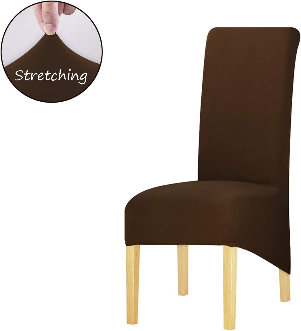 KELUINA Large Dining Chair Covers,XL Dining Room Chair Slipcovers Parsons Chair Slipcover Solid Fabric Chair Covers for Dining Room,Wedding, Ceremony, Banquet (Dark Coffee, 4 Pcs(Large))