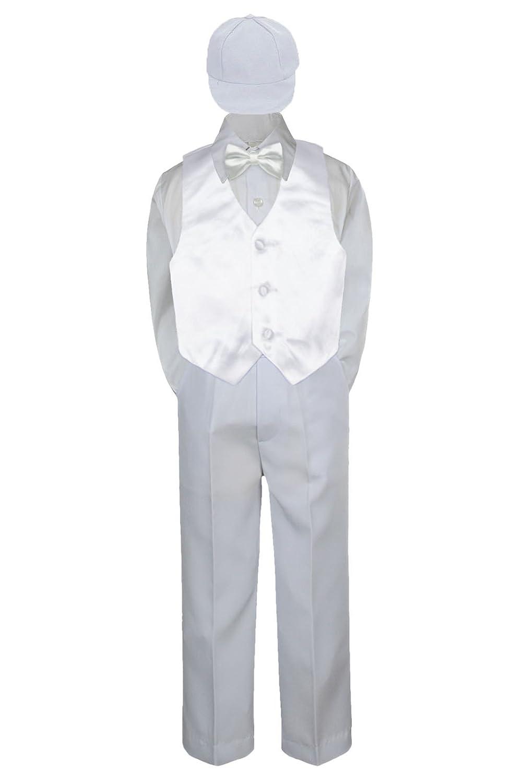 XL: Leadertux 5pc Formal Little Boy White Vest Bow Tie White Pants Suit with Cap S-7 18-24 months
