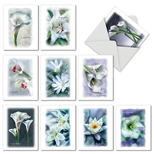 Lily Sympathy Card - Blooming Memories: 10 Assorted Blank Sorry Note Cards Featuring Simple and Serene White Flower Blooms Expressing Sympathy, w/White Envelopes. M6598SRB
