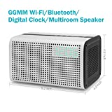 GGMM E3 Wireless WiFi/ Bluetooth Speaker with LED Alarm Clock & Smart USB Charging port, Featuring Airplay, DLNA, Spotify, Pandora, and Multi-Room Play, Streaming music from your Devices (White)