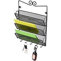 Office Home Wall Mount 3 Tier Mail Sorter Key Holder Rack Organizer