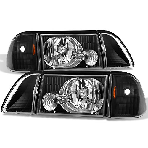 Mustang Black Headlights Headlamps w/ Corner & Parking Lights 6Pcs Complete Replacement Pair Set - Headlight Parking Light Set