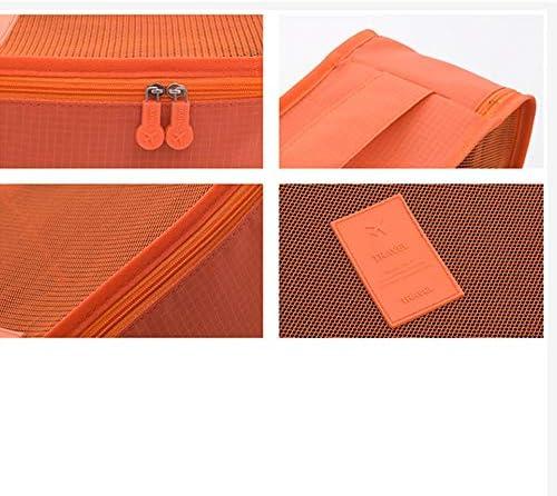 旅行用収納袋 6ピースの服靴化粧品トイレタリーケーブル収納袋防水服収納袋旅行アクセサリー旅行の必需品バッグのセット ハンドロールアップ再利用可能な服 (色 : Orange, Size : Free size)