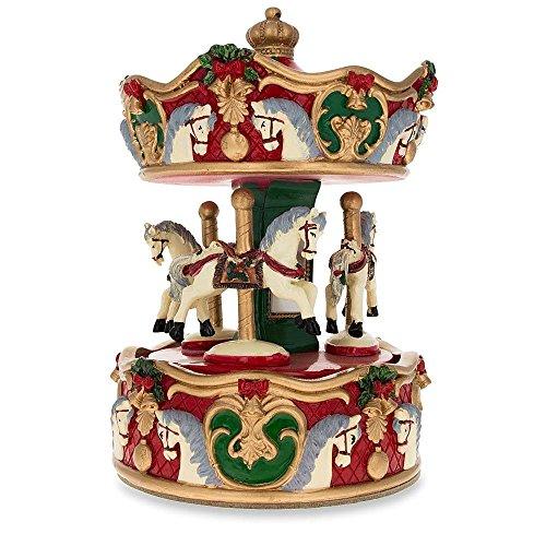BestPysanky Carousel with Revolving Horses Musical Box Figurine