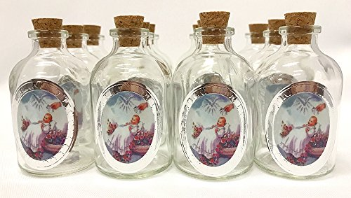 "3/"" Decorative Round Glass Bottle W Cork Top Set Of 12 Bottles Miss Quinceanera"