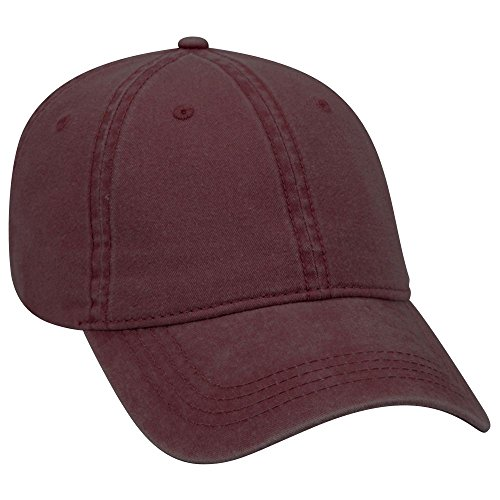 Panel Low Profile Garment Washed Pigment Dyed Superior Cotton Twill Cap -Maroon [Wholesale Price on Bulk] (Garment Washed Pigment Dyed Twill)