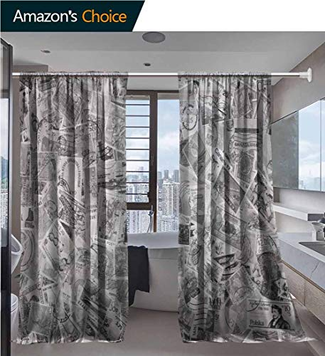 vanfanhome Home 2 Panels Window Sheer Curtains, February A Large World Foreign Postage Stamp Collection Printing, Voile Panels for Bedroom Living Room, Rod Pocket Curtains, 54 x 72 Inch/Panel