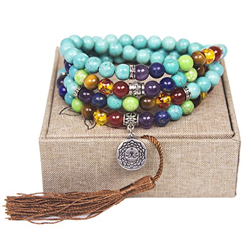 Leefi Turquoise - Tibetan Mala Prayer Japa Turquoise Necklace - 108 Turquoise Jewelry for Mantra and Meditation - Buddhist Prayer Beaded Bracelet Necklace - Chakra Stones(Turquoise,OM Buddha)