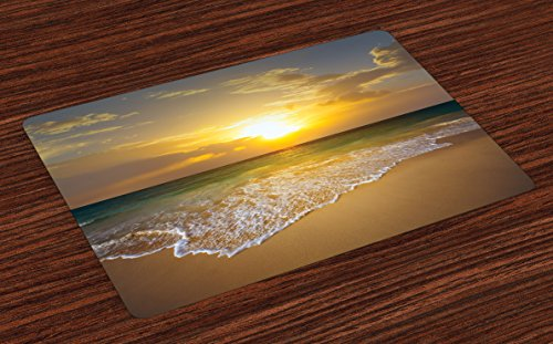 Lunarable Ocean Place Mats Set of 4, Long Calm Spumous Sea Waves Covers Sandy Beach at a Mystic Sunset, Washable Fabric Placemats for Dining Room Kitchen Table Decoration, Pale Brown Teal and Yellow (Ocean Place)