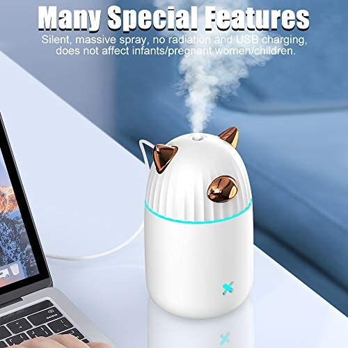 CAFELE Air Humidifier 350ml, Essential Oil Diffuser with Colorful LED Lights, 25dB Quiet Cool Mist Diffuser for Home, Office, Yoga, Bedroom, Up to 20