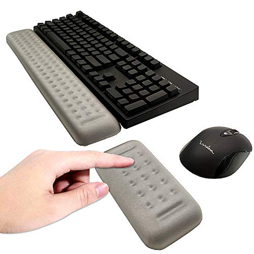 MINSA Memory Foam Keyboard Wrist Rest&Gaming Mouse Pad Wrist Support,Lightweight Pad Support for Easy Typing&Pain Relief,for Office/Gaming/Computer/Laptop/Mac (Gray)