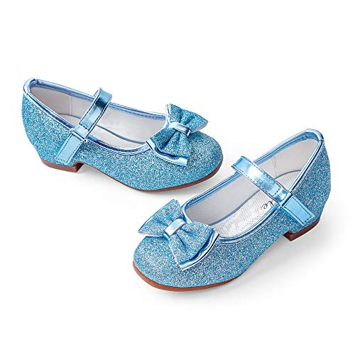 STELLE Girls Mary Jane Glitter Shoes Low Heel Princess Flower Wedding Party Dress Pump Shoes for Kids Toddler(Blue, 10MT)
