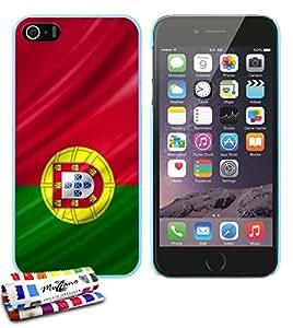 Carcasa Rigida Ultra-Slim APPLE IPHONE 5S / IPHONE SE de exclusivo motivo [Portugal Bandera] [Azul lago] de MUZZANO  + ESTILETE y PAÑO MUZZANO REGALADOS - La Protección Antigolpes ULTIMA, ELEGANTE Y DURADERA para su APPLE IPHONE 5S / IPHONE SE