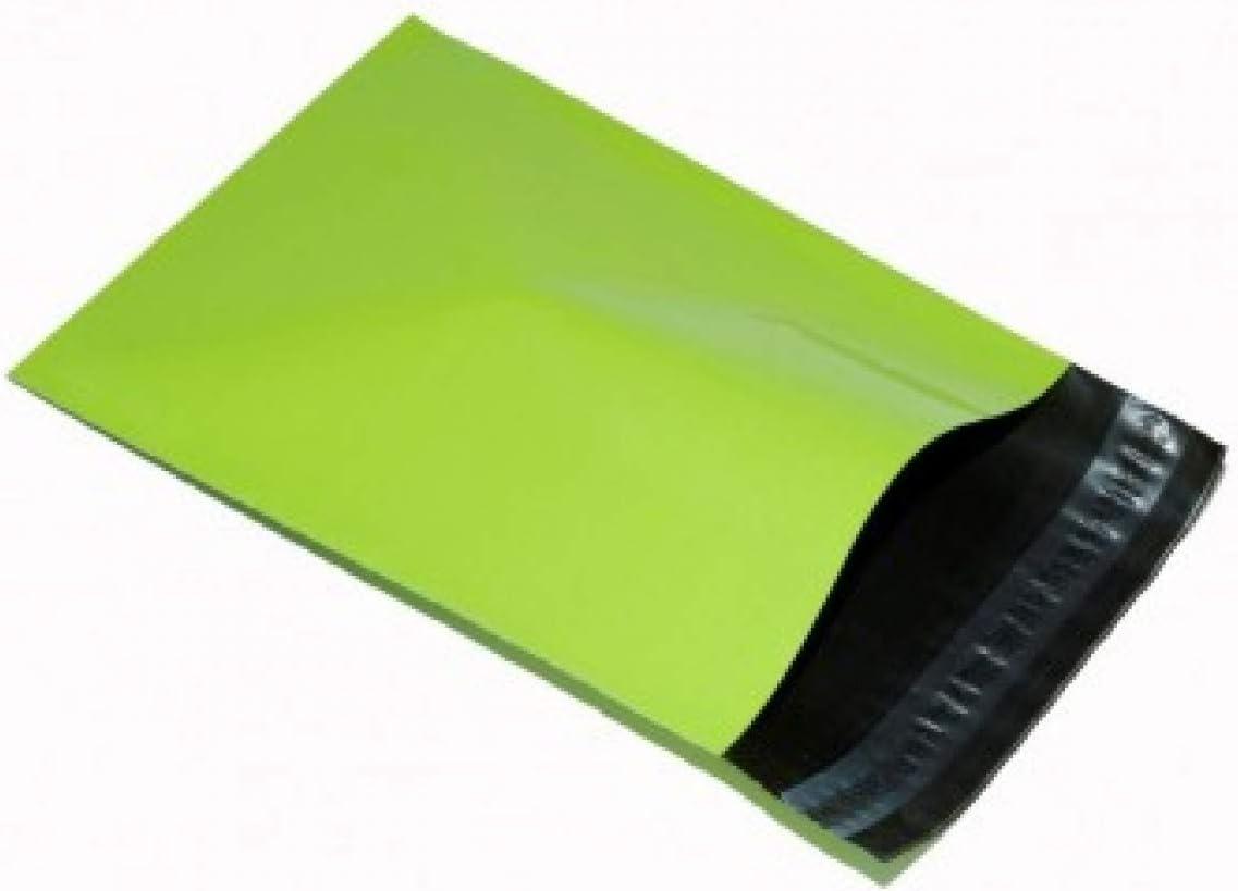 REALPACK® - 100 bolsas para envío de plástico, color verde neón, 305mm x 406mm (+ 40mm borde)