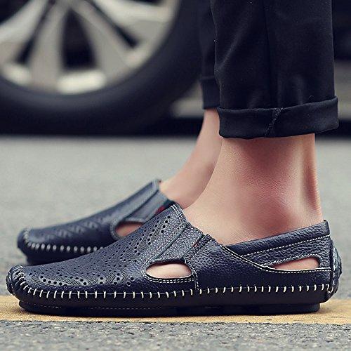 Xing Lin Sandali Di Cuoio Gli Uomini Di Sandali Estivi Scarpe Fagioli Di Soia Fresco Scarpe Uomo Scarpe Casual Uomo Traspirante-Foro Scarpe ,39, Blu