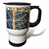 3dRose Alexis Photography - Objects - Young leafless oak tree and a solar power panel. Both turned sunward - 14oz Stainless Steel Travel Mug (tm_283847_1)