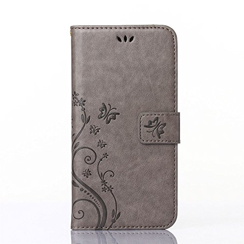 COOLKE Retro Mariposas Patrón PU Leather Wallet With Card Pouch Stand de protección Funda Carcasa Cuero Tapa Case Cover para Samsung I9190 Galaxy S4 mini - Rose Gris