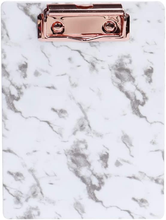MultiBey Marble Clipboard Acrylic Transparent Color Hardboard with Low Profile Clip for School and Office Use (Marble, 5 x 7 in)