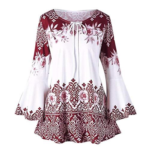 YOcheerful Womens Plus Size Shirt Top Blouse Fall Long Sleeve Mini Dress Holiday (Red,3XL)