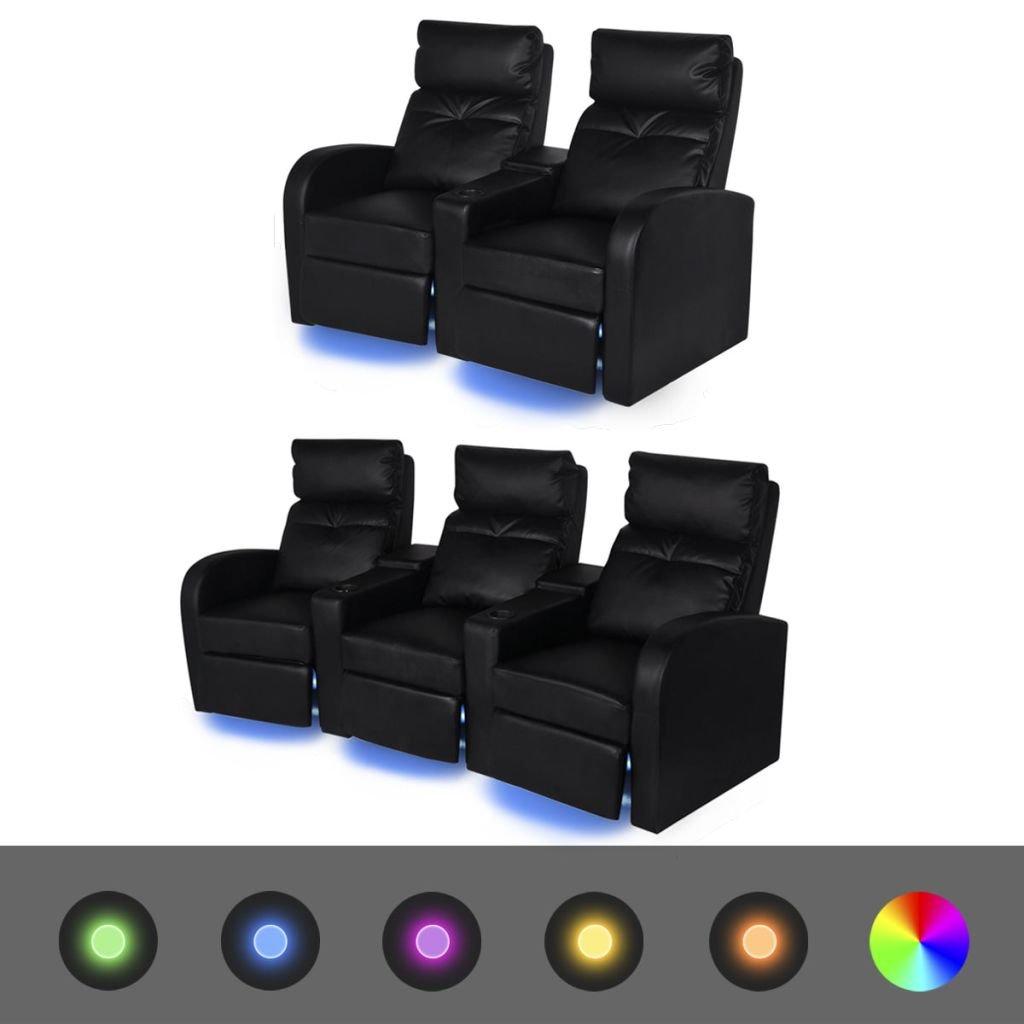SHENGFENG Conjunto de Sofás Negros de 5 Plazas con LED ...